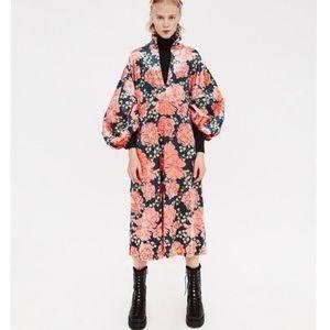 NWOT Zara Floral Velvet Midi Dress